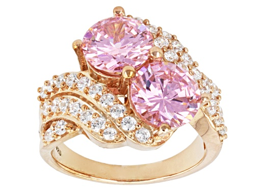Photo of Bella Luce ® 8.09ctw Pink & White Diamond Simulant Round Eterno ™ Rose Ring (5.01ctw Dew) - Size 11
