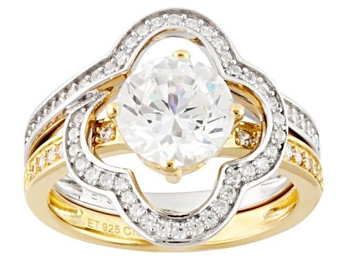 Bella Luce ® 2.89ctw Diamond Simulant Rhodium Over Sterling & Eterno ™ Yellow Ring W/Guard - Size 9