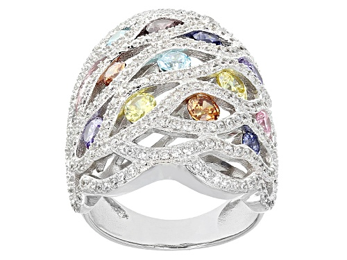 Photo of Bella Luce ® 5.85ctw Multicolor Diamond Simulants Rhodium Over Sterling Silver Ring - Size 5