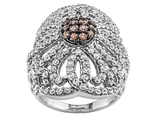 Photo of Bella Luce® 5.07ctw Mocha & White Diamond Simulant Rhodium Over Sterling Ring (2.59ctw Dew) - Size 5