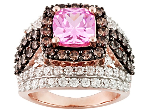 Photo of Bella Luce ® 8.71ctw Pink, Champagne & White Diamond Simulant Eterno ™ Rose Ring (4.53ctw Dew) - Size 6