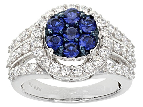 Photo of Bella Luce ® 2.79ctw Sapphire & White Diamond Simulants Round Rhodium Over Sterling Silver Ring - Size 8