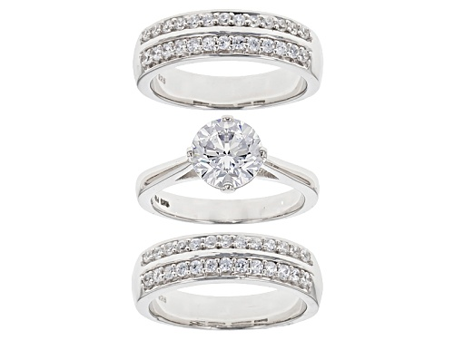 Photo of Bella Luce ® 4.91ctw Diamond Simulant Rhodium Over Sterling Silver Ring With 2 Bands (2.82ctw Dew) - Size 10