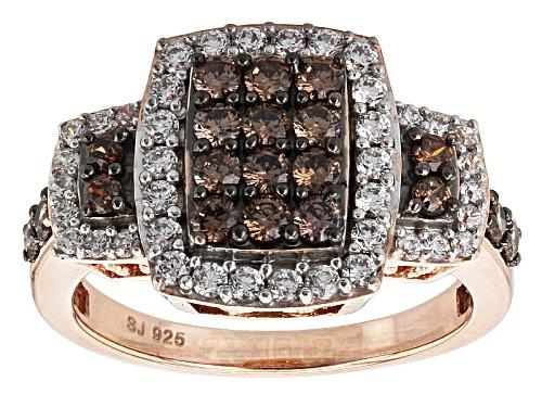 Photo of Bella Luce ® 2.06ctw Mocha & White Diamond Simulant Round Eterno ™ Rose Ring (1.03ctw Dew) - Size 5