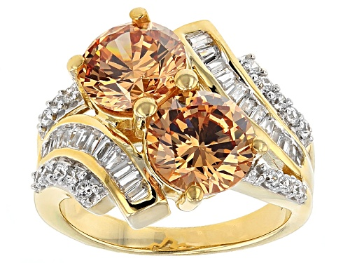 Photo of Bella Luce ® 5.18ctw Mocha & White Diamond Simulant Eterno ™ Yellow Ring (4.72ctw Dew) - Size 5