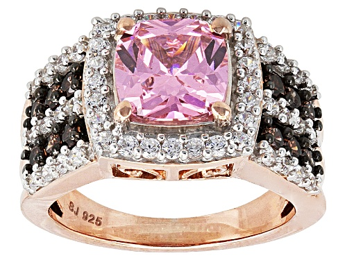Photo of Bella Luce ® 5.90ctw Pink, Mocha & White Diamond Simulant Eterno ™ Rose Ring (3.12ctw Dew) - Size 5