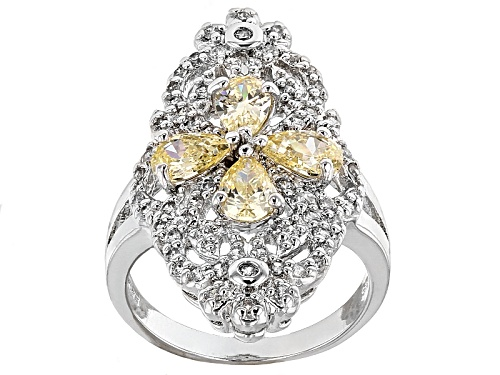 Photo of Bella Luce® 3.60ctw Yellow & White Diamond Simulant Rhodium Over Sterling Silver Ring(1.93ctw Dew) - Size 5
