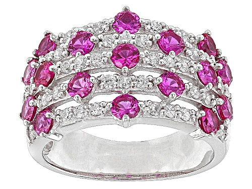 Photo of Bella Luce ® 2.56ctw Ruby & White Diamond Simulants Round Rhodium Over Sterling Silver Ring - Size 5