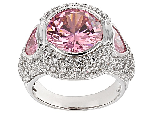 Photo of Bella Luce® 11.35ctw Pink & White Diamond Simulant Rhodium Over Sterling Silver Ring (7.44ctw Dew) - Size 5
