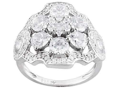Photo of Bella Luce ® 4.43ctw Diamond Simulant Round Rhodium Over Sterling Silver Ring (2.53ctw Dew) - Size 8