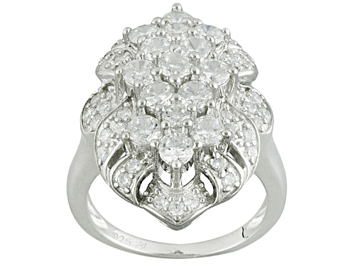 Photo of Bella Luce ® 3.58ctw Diamond Simulant Round Rhodium Over Sterling Silver Ring (2.12ctw Dew) - Size 8