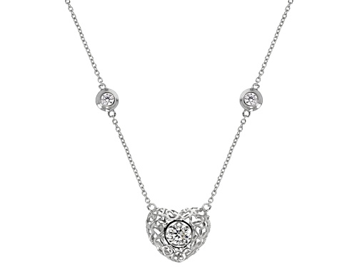 """Photo of Bella Luce ® 2.61ctw Rhodium Over Sterling Silver """"Dancing Bella"""" Heart Necklace (1.53ctw Dew) - Size 18"""