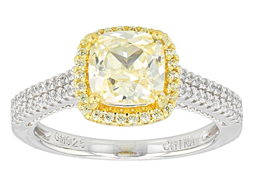 Photo of Bella Luce ® 4.00ctw Canary & White Diamond Simulants Eterno ™ Yellow/ Rhodium Over Silver Ring - Size 9
