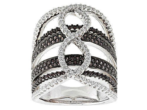 Photo of Bella Luce®2.81ctw Mocha & White Diamond Simulants Black & White Rhodium Over  Silver Ring - Size 7