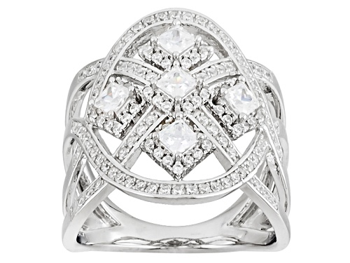 Photo of Bella Luce ® 1.37ctw Diamond Simulant Rhodium Over Sterling Silver Ring (1.17ctw Dew) - Size 7