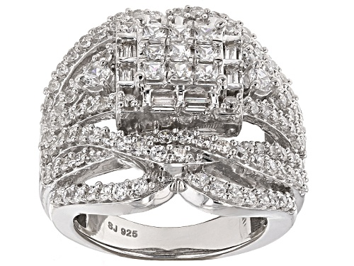 Bella Luce ® 4.88ctw Diamond Simulant Rhodium Over Sterling Silver Ring (2.91ctw Dew) - Size 12