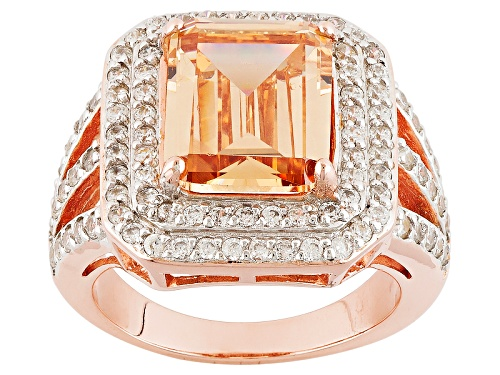 Photo of Bella Luce ® 8.50ctw Champagne & White Diamond Simulant Eterno ™ Rose Ring (6.53ctw Dew) - Size 8