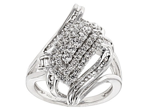 Bella Luce ® 1.96ctw Diamond Simulant Rhodium Over Sterling Silver Ring (1.31ctw Dew) - Size 5