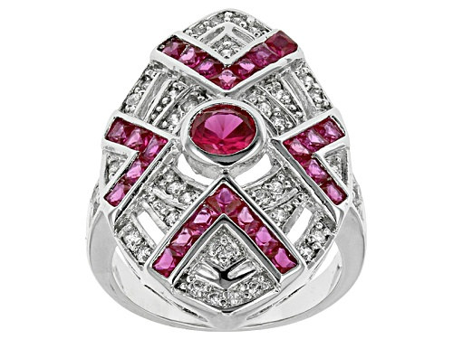 Photo of Bella Luce ® 2.26ctw Ruby & White Diamond Simulants Rhodium Over Sterling Silver Ring - Size 6