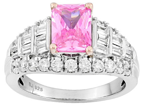 Photo of Bella Luce ® 4.44ctw Pink & White Diamond Simulant Rhodium Over Sterling Silver Ring (3.20ctw Dew) - Size 5