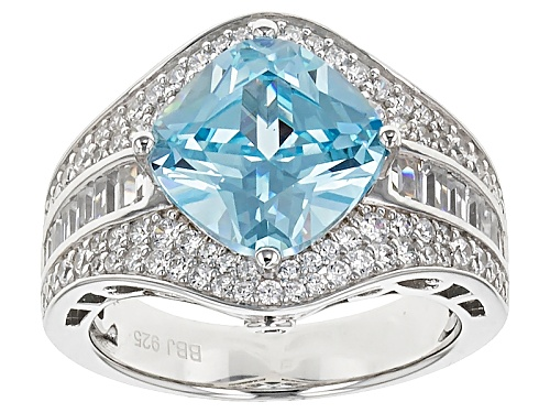 Photo of Bella Luce ® 6.78ctw Blue & White Diamond Simulant Rhodium Over Sterling Silver Ring (4.99ctw Dew) - Size 5