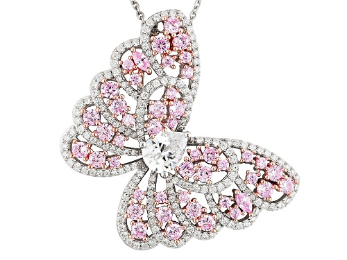 Photo of Bella Luce ® 6.65ctw White & Pink Diamond Simulant Rhodium Over Sterling Butterfly Pendant & Chain