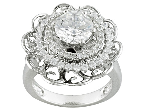 "Photo of Bella Luce ® 4.44ctw Rhodium Over Sterling Silver ""Spin Ring"" (2.72ctw Dew) - Size 5"