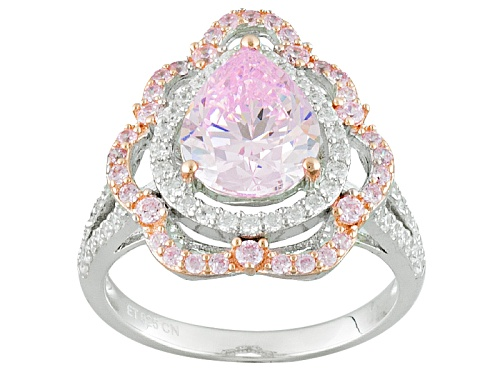 Photo of Bella Luce ® 5.19ctw Pink & White Diamond Simulant Rhodium Over Sterling Silver Ring (3.03ctw Dew) - Size 7
