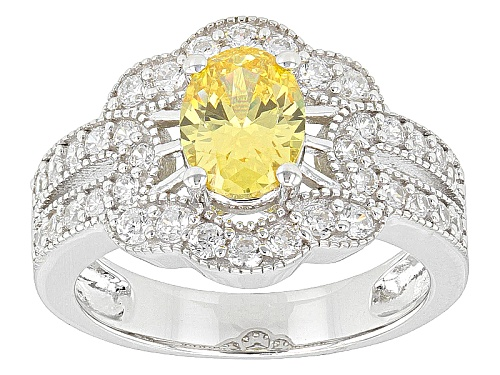 Photo of Bella Luce ® 3.08ctw Oval & Round Canary & White Rhodium Over Sterling Silver Ring (1.82ctw Dew) - Size 12