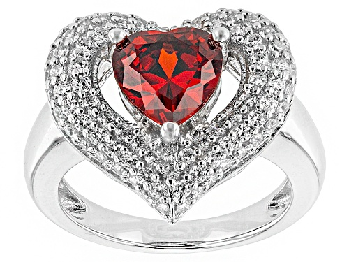 Photo of Bella Luce ® 4.10ctw Ruby And White Diamond Simulants Rhodium Over Sterling Silver Heart Ring - Size 10