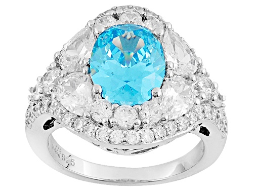 Photo of Bella Luce® 7.78ctw Blue & White Diamond Simulants Rhodium Over Sterling Silver Ring (5.40ctw Dew) - Size 7