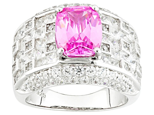 Photo of Bella Luce ® 8.02ctw Pink & White Diamond Simulant Rhodium Over Sterling Silver Ring (6.57ctw Dew) - Size 5