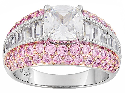 Photo of Bella Luce ® 5.19ctw White & Pink Diamond Simulant Rhodium Over Sterling Silver Ring (3.54ctw Dew) - Size 7