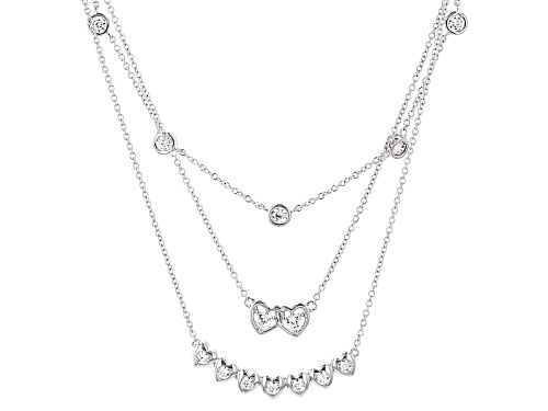 Photo of Bella Luce ® 3.26ctw Rhodium Over Sterling Silver Heart Necklace (1.98ctw Dew) - Size 18