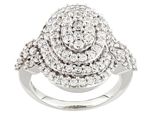 Photo of Bella Luce ® 3.18ctw Diamond Simulant Round Rhodium Over Sterling Silver Ring (1.62ctw Dew) - Size 6