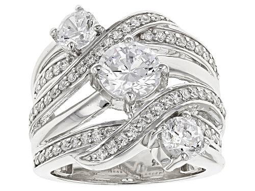 Photo of Bella Luce ® 4.86ctw Diamond Simulant Round Rhodium Over Sterling Silver Ring (2.80ctw Dew) - Size 5