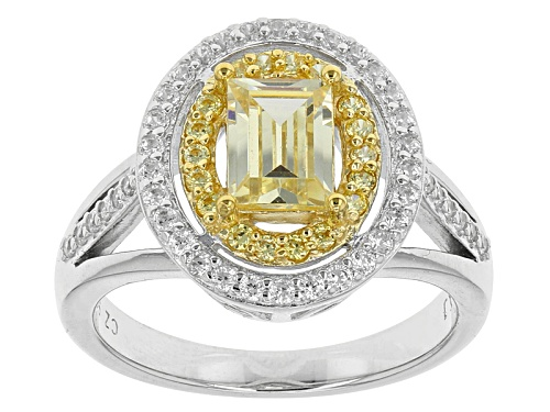 Photo of Bella Luce ® 2.65ctw Canary And White Diamond Simulants Rhodium Over Sterling Silver Ring - Size 11