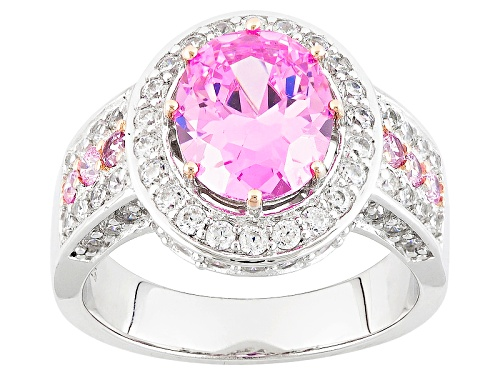 Photo of Bella Luce ® 6.35ctw Pink And White Diamond Simulants Rhodium Over Silver And Eterno ™Rose Ring - Size 8