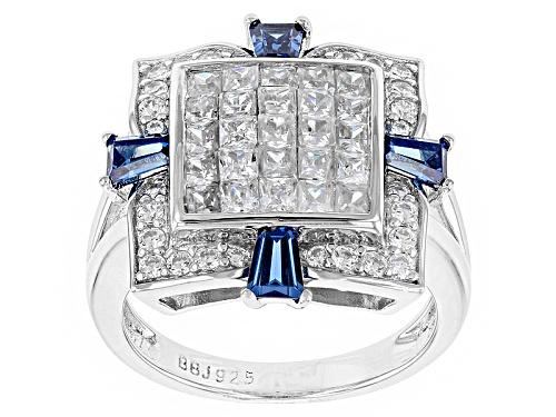Photo of Bella Luce ® 3.39ctw White Diamond Simulant & Sapphire Simulant Rhodium Over Sterling Silver Ring - Size 8