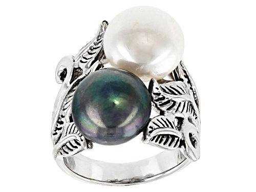 Photo of 9mm White And Black Cultured Freshwater Pearl Rhodium Over Sterling Silver Leaf Design Ring - Size 12