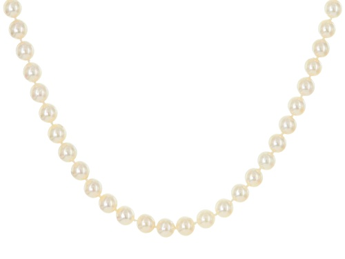 Photo of 7.5-8mm Round White Cultured Japanese Akoya Pearl 14k Yellow Gold 19 Inch Strand Necklace - Size 19