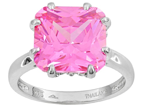 Photo of Bella Luce 7.25ct Pink Diamond Simulant Princess Cut Rhodium Over Sterling Silver Ring(5.62ct Dew) - Size 10
