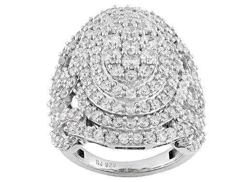 Bella Luce ® 5.68ctw Diamond Simulant Round Rhodium Over Sterling Silver Ring (2.97ctw Dew) - Size 5
