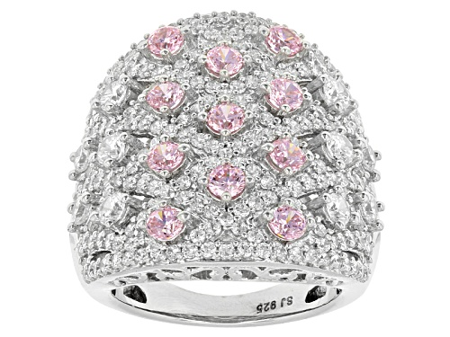Photo of Bella Luce ® 6.26ctw Pink & White Diamond Simulant Rhodium Over Sterling Silver Ring (2.91ctw Dew) - Size 6