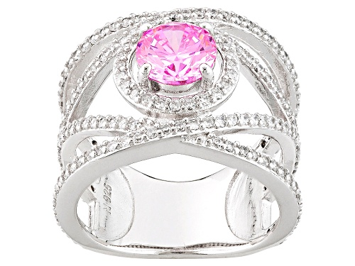 Photo of Bella Luce ® 3.77ctw Pink And White Diamond Simulants Rhodium Over Sterling Silver Ring - Size 7