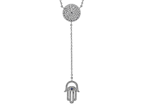 Photo of Bella Luce ® 1.57ctw Blue And White Diamond Simulants Rhodium Over Sterling Silver Hamsa Necklace - Size 18