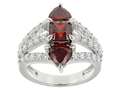 Photo of Bella Luce ® 6.04ctw Ruby And White Diamond Simulants Rhodium Over Sterling Silver Heart Ring - Size 12
