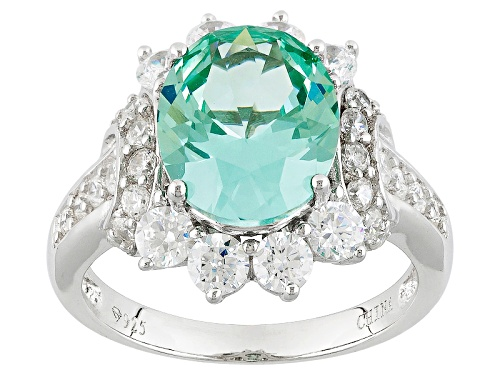 Photo of Bella Luce®5.30ctw Caribbean Green™ Lab Created Spinel And Diamond Simulant Rhodium Over Silver Ring - Size 10
