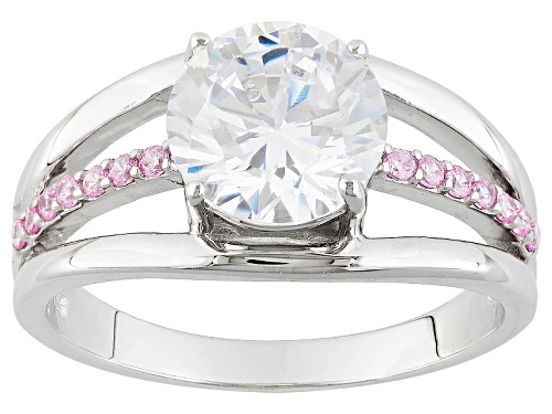 Photo of Bella Luce ® 2.14ctw White & Pink Diamond Simulant Rhodium Over Sterling Silver Ring (1.35ctw Dew) - Size 10
