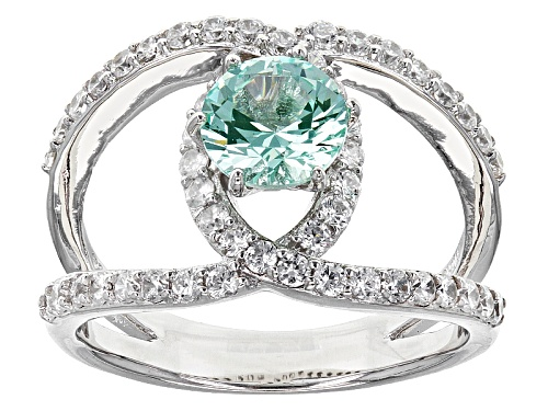 Photo of Bella Luce®2.00ctw Caribbean Green™ Lab Created Spinel And Diamond Simulant Rhodium Over Silver Ring - Size 6
